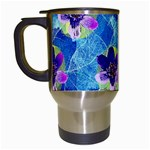 Purple Flowers Travel Mugs (White) Left