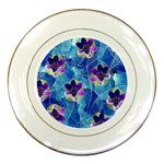 Purple Flowers Porcelain Plates Front