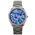 Purple Flowers Sport Metal Watch Front