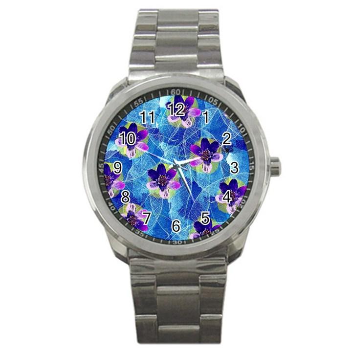 Purple Flowers Sport Metal Watch