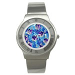 Purple Flowers Stainless Steel Watch Front