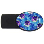 Purple Flowers USB Flash Drive Oval (4 GB)  Front