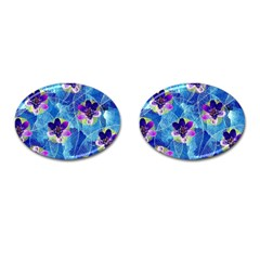Purple Flowers Cufflinks (oval)