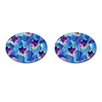 Purple Flowers Cufflinks (Oval) Front