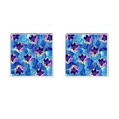 Purple Flowers Cufflinks (square)