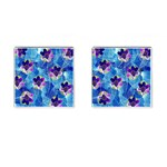 Purple Flowers Cufflinks (Square) Front