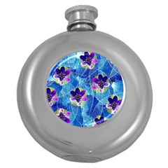 Purple Flowers Round Hip Flask (5 Oz)