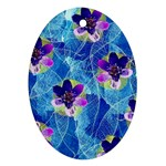 Purple Flowers Oval Ornament (Two Sides) Front