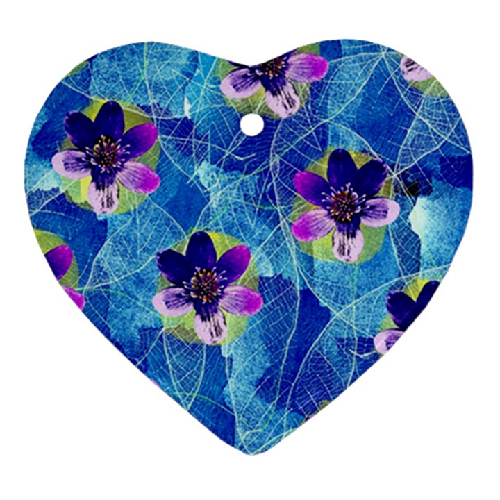 Purple Flowers Heart Ornament (2 Sides)