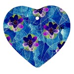 Purple Flowers Heart Ornament (2 Sides) Back