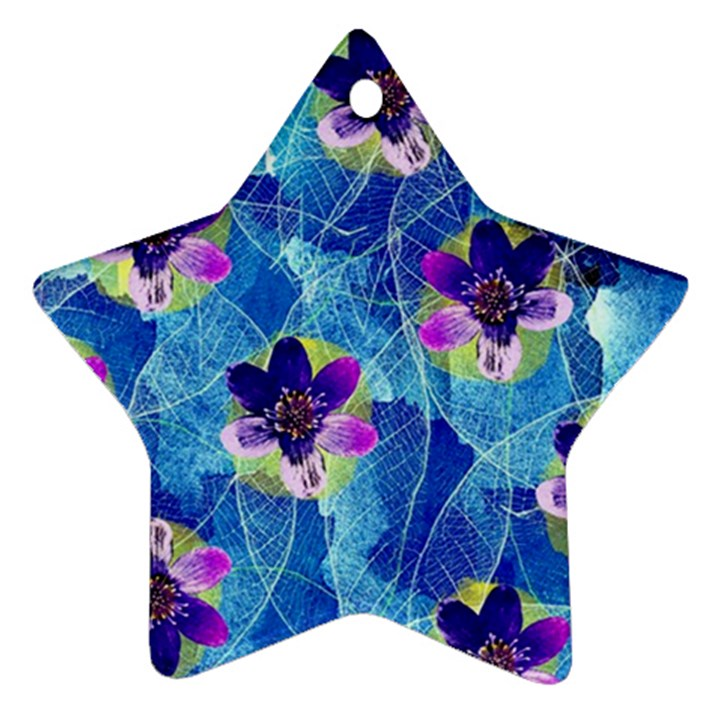 Purple Flowers Star Ornament (Two Sides)