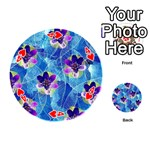 Purple Flowers Playing Cards 54 (Round)  Front - Heart4