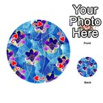 Purple Flowers Playing Cards 54 (Round)  Front - Heart7
