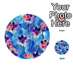 Purple Flowers Playing Cards 54 (Round)  Front - Heart10