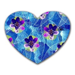 Purple Flowers Heart Mousepads