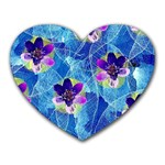 Purple Flowers Heart Mousepads Front