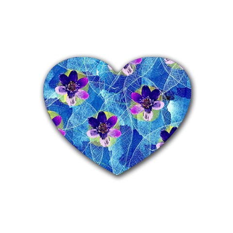 Purple Flowers Rubber Coaster (Heart)