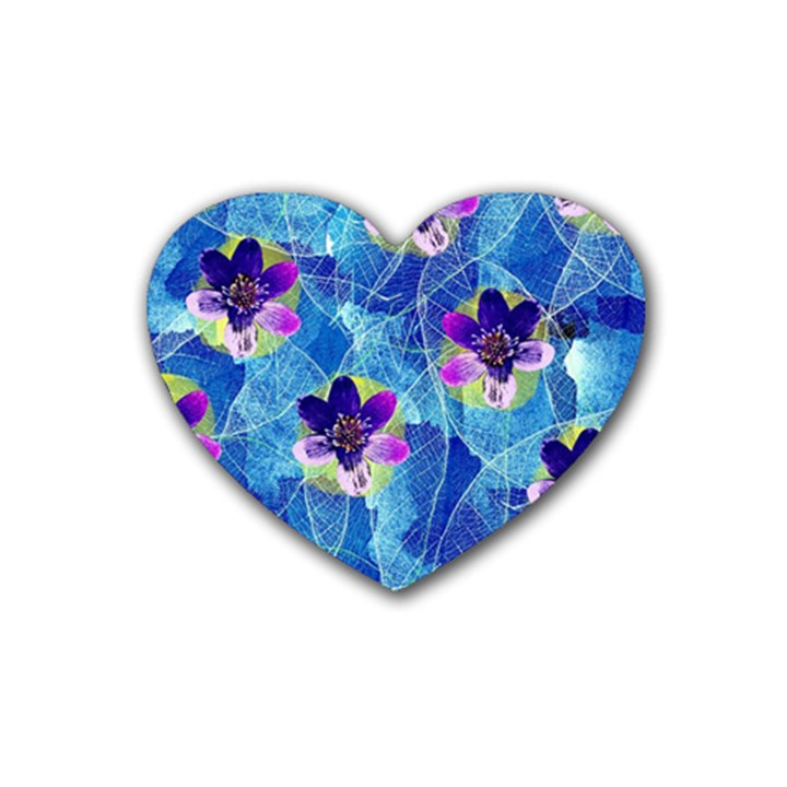 Purple Flowers Heart Coaster (4 pack)