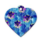Purple Flowers Dog Tag Heart (One Side) Front