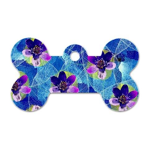 Purple Flowers Dog Tag Bone (One Side)