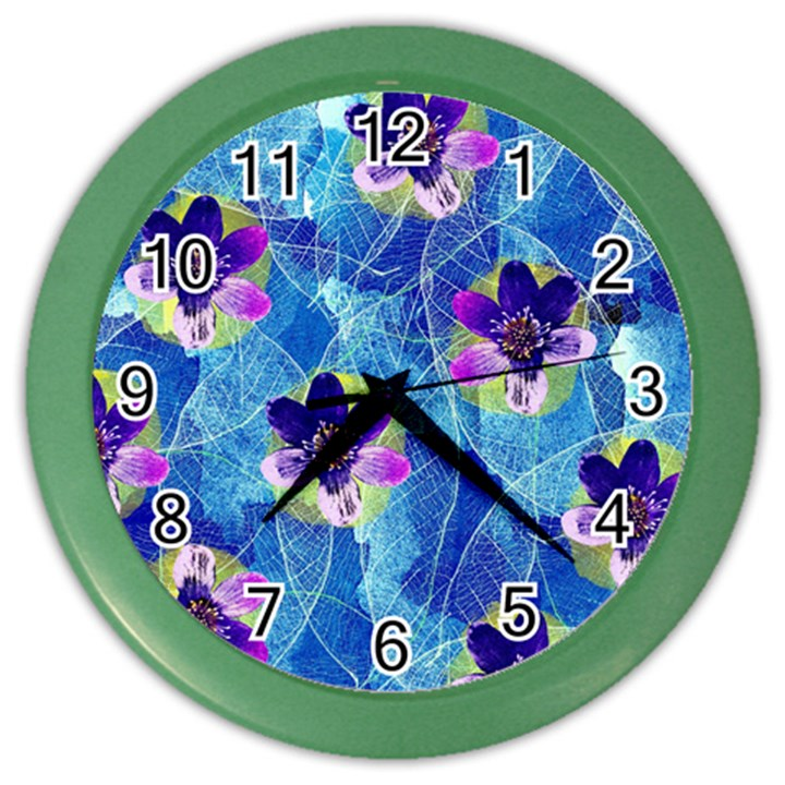 Purple Flowers Color Wall Clocks