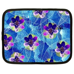 Purple Flowers Netbook Case (large)