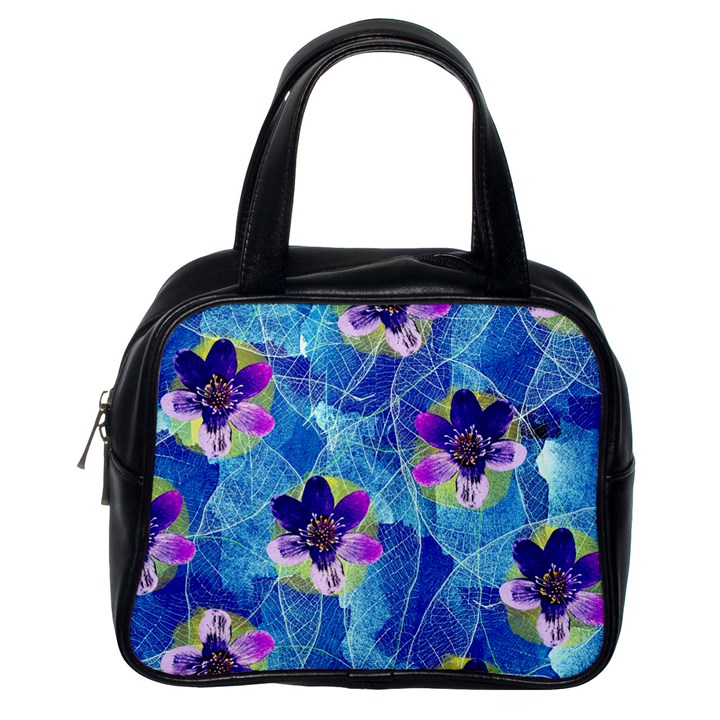 Purple Flowers Classic Handbags (One Side)