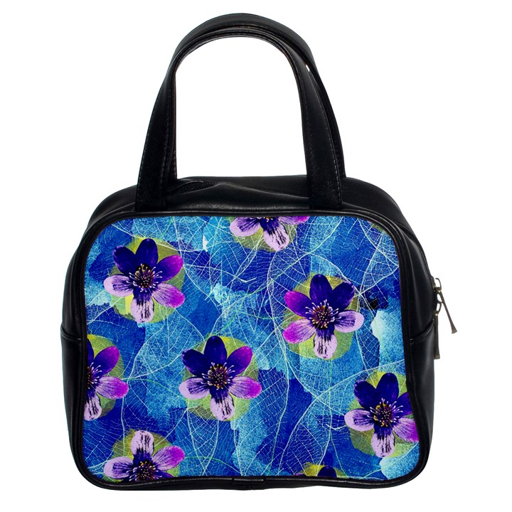 Purple Flowers Classic Handbags (2 Sides)