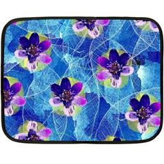 Purple Flowers Double Sided Fleece Blanket (mini)