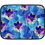 Purple Flowers Double Sided Fleece Blanket (Mini)  35 x27 Blanket Back