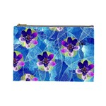 Purple Flowers Cosmetic Bag (Large)  Front