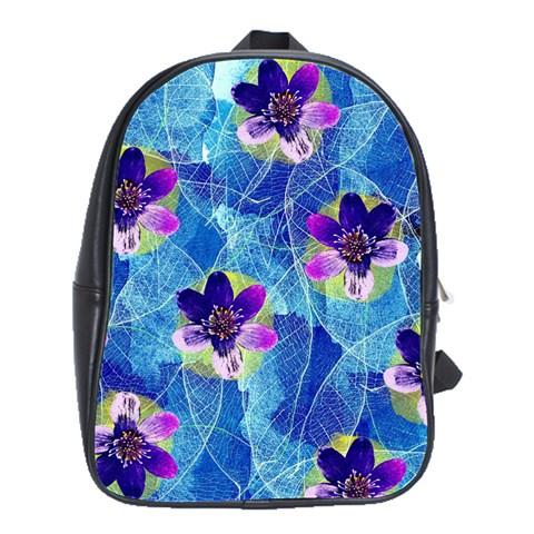Purple Flowers School Bags(Large)