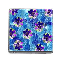 Purple Flowers Memory Card Reader (Square)