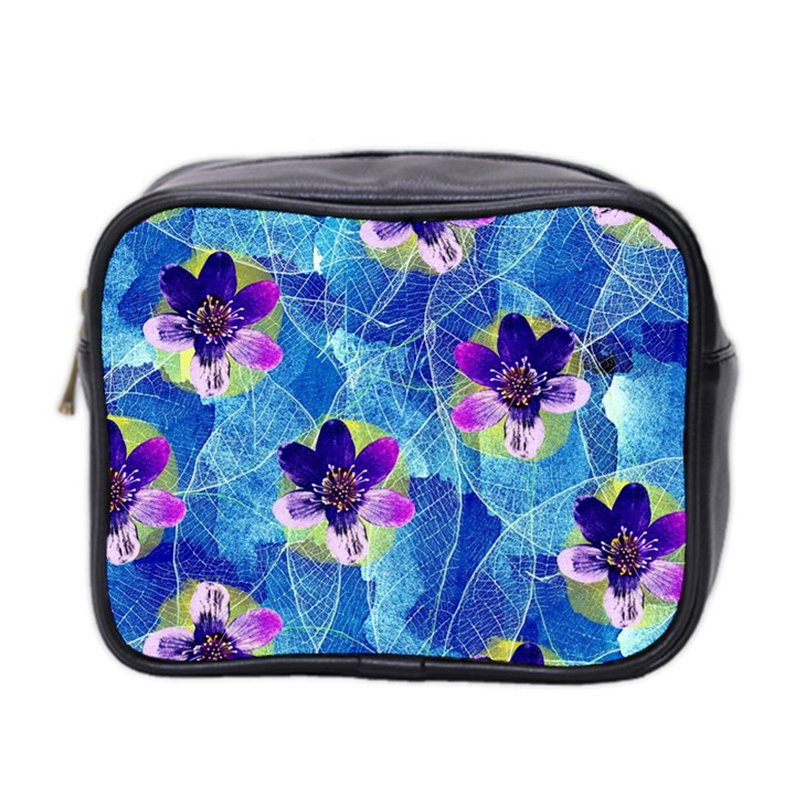 Purple Flowers Mini Toiletries Bag 2-Side
