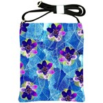 Purple Flowers Shoulder Sling Bags Front