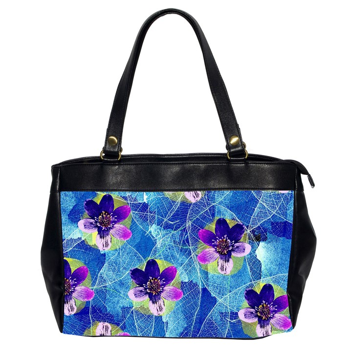 Purple Flowers Office Handbags (2 Sides)