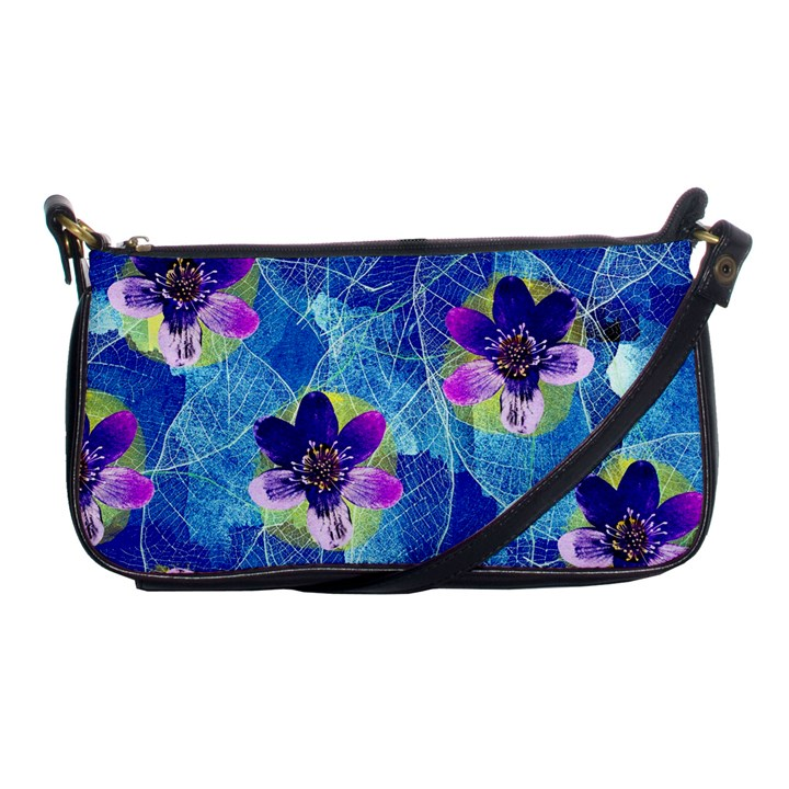 Purple Flowers Shoulder Clutch Bags