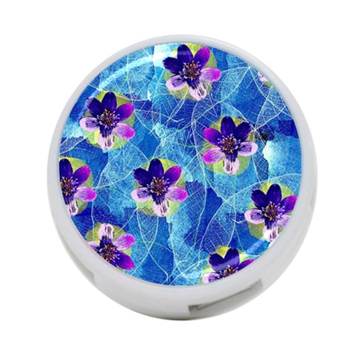 Purple Flowers 4-Port USB Hub (One Side)