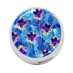 Purple Flowers 4-Port USB Hub (Two Sides)