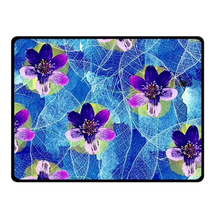 Purple Flowers Fleece Blanket (Small)