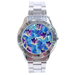 Purple Flowers Stainless Steel Analogue Watch