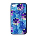 Purple Flowers Apple iPhone 4 Case (Black) Front