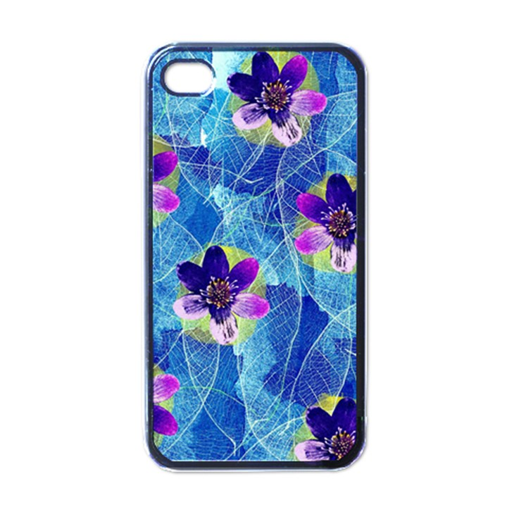 Purple Flowers Apple iPhone 4 Case (Black)