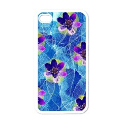 Purple Flowers Apple Iphone 4 Case (white)