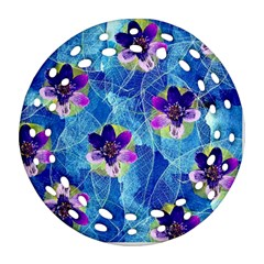 Purple Flowers Ornament (round Filigree)