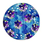 Purple Flowers Ornament (Round Filigree)  Front