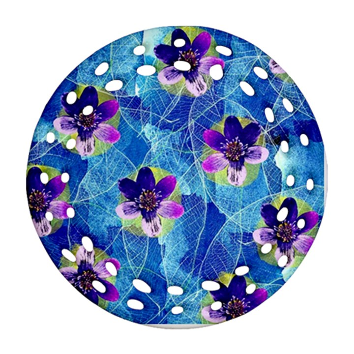 Purple Flowers Round Filigree Ornament (2Side)