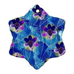Purple Flowers Snowflake Ornament (2 Side)