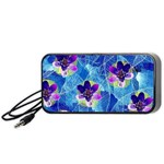Purple Flowers Portable Speaker (Black)  Front