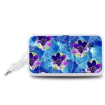 Purple Flowers Portable Speaker (White)  Front